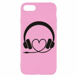 Чехол для iPhone 8 Headphones and heart - FatLine