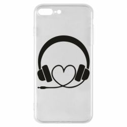 Чехол для iPhone 8 Plus Headphones and heart - FatLine