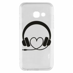 Чехол для Samsung A3 2017 Headphones and heart - FatLine