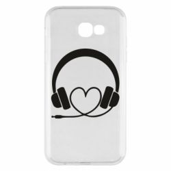 Чехол для Samsung A7 2017 Headphones and heart - FatLine