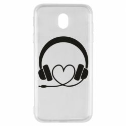 Чехол для Samsung J7 2017 Headphones and heart - FatLine