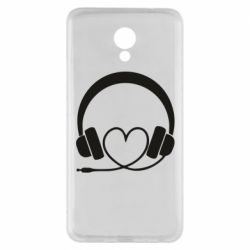 Чехол для Meizu M5 Note Headphones and heart - FatLine
