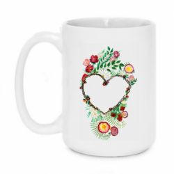 Кружка 420ml Heart consisting of vines and flowers
