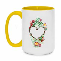 Кружка двоколірна 420ml Heart consisting of vines and flowers