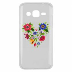 Чехол для Samsung J2 2015 Heart made of flowers vector