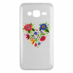 Чехол для Samsung J3 2016 Heart made of flowers vector