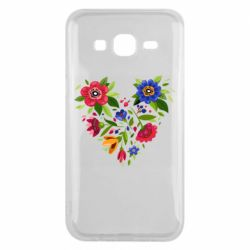 Чехол для Samsung J5 2015 Heart made of flowers vector