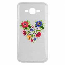Чехол для Samsung J7 2015 Heart made of flowers vector