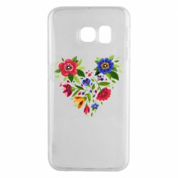 Чехол для Samsung S6 EDGE Heart made of flowers vector