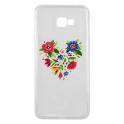 Чехол для Samsung J4 Plus 2018 Heart made of flowers vector
