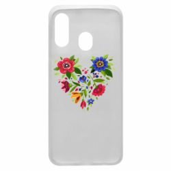 Чехол для Samsung A40 Heart made of flowers vector