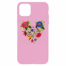 Чехол для iPhone 11 Pro Heart made of flowers vector