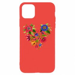 Чехол для iPhone 11 Pro Max Heart made of flowers vector