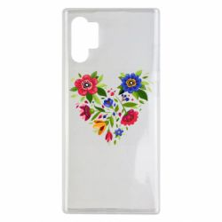 Чехол для Samsung Note 10 Plus Heart made of flowers vector