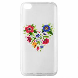 Чехол для Xiaomi Redmi Go Heart made of flowers vector