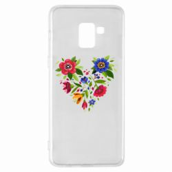 Чехол для Samsung A8+ 2018 Heart made of flowers vector