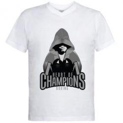 Мужская футболка  с V-образным вырезом Heart of Champions - FatLine