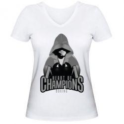 Женская футболка с V-образным вырезом Heart of Champions