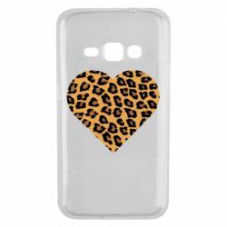 Чехол для Samsung J1 2016 Heart with leopard hair