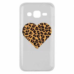 Чехол для Samsung J2 2015 Heart with leopard hair