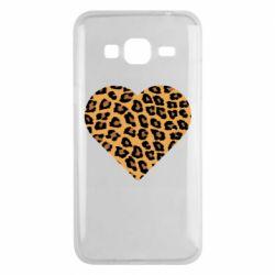 Чехол для Samsung J3 2016 Heart with leopard hair