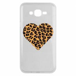 Чехол для Samsung J7 2015 Heart with leopard hair