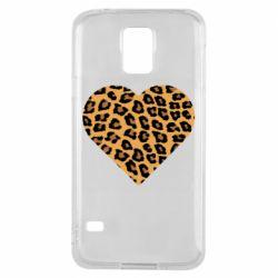 Чехол для Samsung S5 Heart with leopard hair