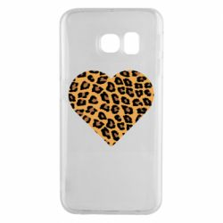 Чехол для Samsung S6 EDGE Heart with leopard hair
