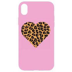 Чехол для iPhone XR Heart with leopard hair