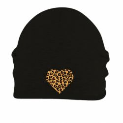 Шапка на флисе Heart with leopard hair