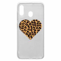 Чехол для Samsung A20 Heart with leopard hair