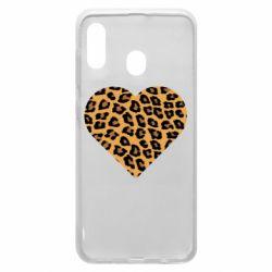 Чехол для Samsung A30 Heart with leopard hair