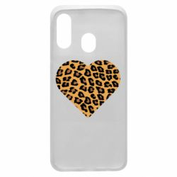 Чехол для Samsung A40 Heart with leopard hair
