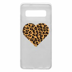 Чехол для Samsung S10 Heart with leopard hair