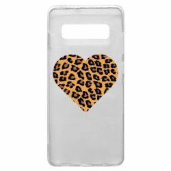 Чехол для Samsung S10+ Heart with leopard hair