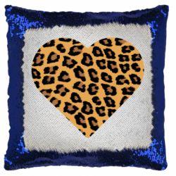 Подушка-хамелеон Heart with leopard hair