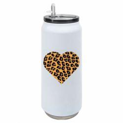 Термобанка 500ml Heart with leopard hair
