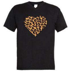Мужская футболка  с V-образным вырезом Heart with leopard hair