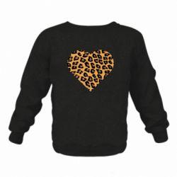 Детский реглан (свитшот) Heart with leopard hair