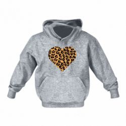 Детская толстовка Heart with leopard hair