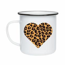 Кружка эмалированная Heart with leopard hair