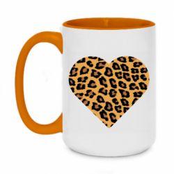 Кружка двухцветная 420ml Heart with leopard hair