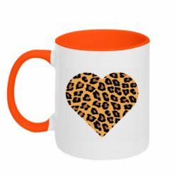 Кружка двухцветная 320ml Heart with leopard hair