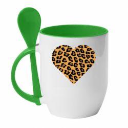 Кружка с керамической ложкой Heart with leopard hair