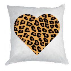 Подушка Heart with leopard hair