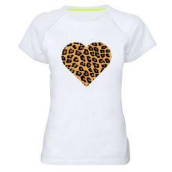 Женская спортивная футболка Heart with leopard hair