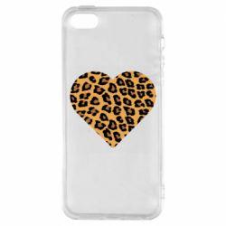 Чехол для iPhone5/5S/SE Heart with leopard hair