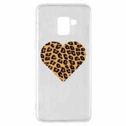 Чехол для Samsung A8+ 2018 Heart with leopard hair