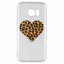 Чехол для Samsung S7 Heart with leopard hair
