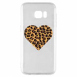 Чехол для Samsung S7 EDGE Heart with leopard hair